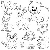 Lesní zvěř. Liška, medvěd, raccon, zajíc, jelen, sova, Ježek, veverka, agaric a strom, pařez