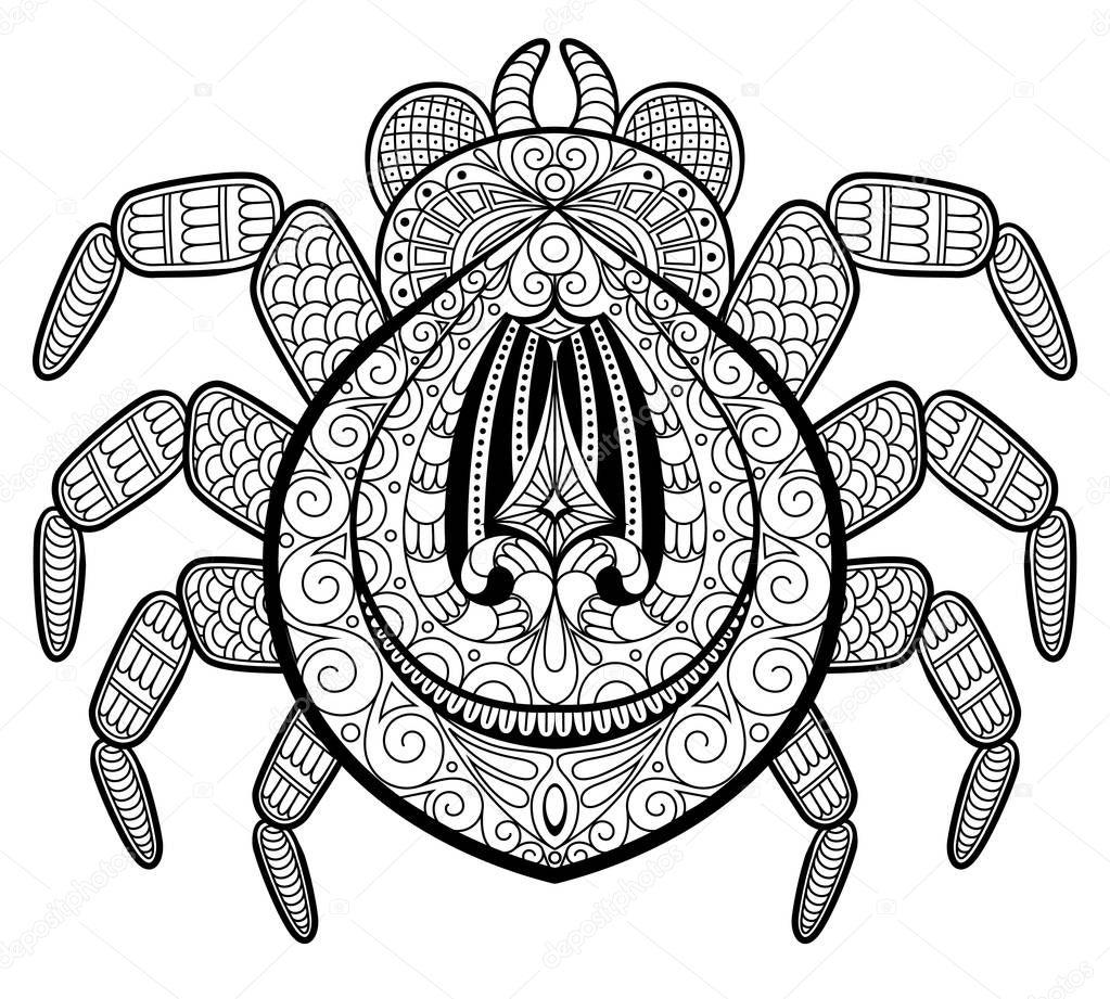 Araignée en zentangle style de tatouage. Imprimer ou t ...