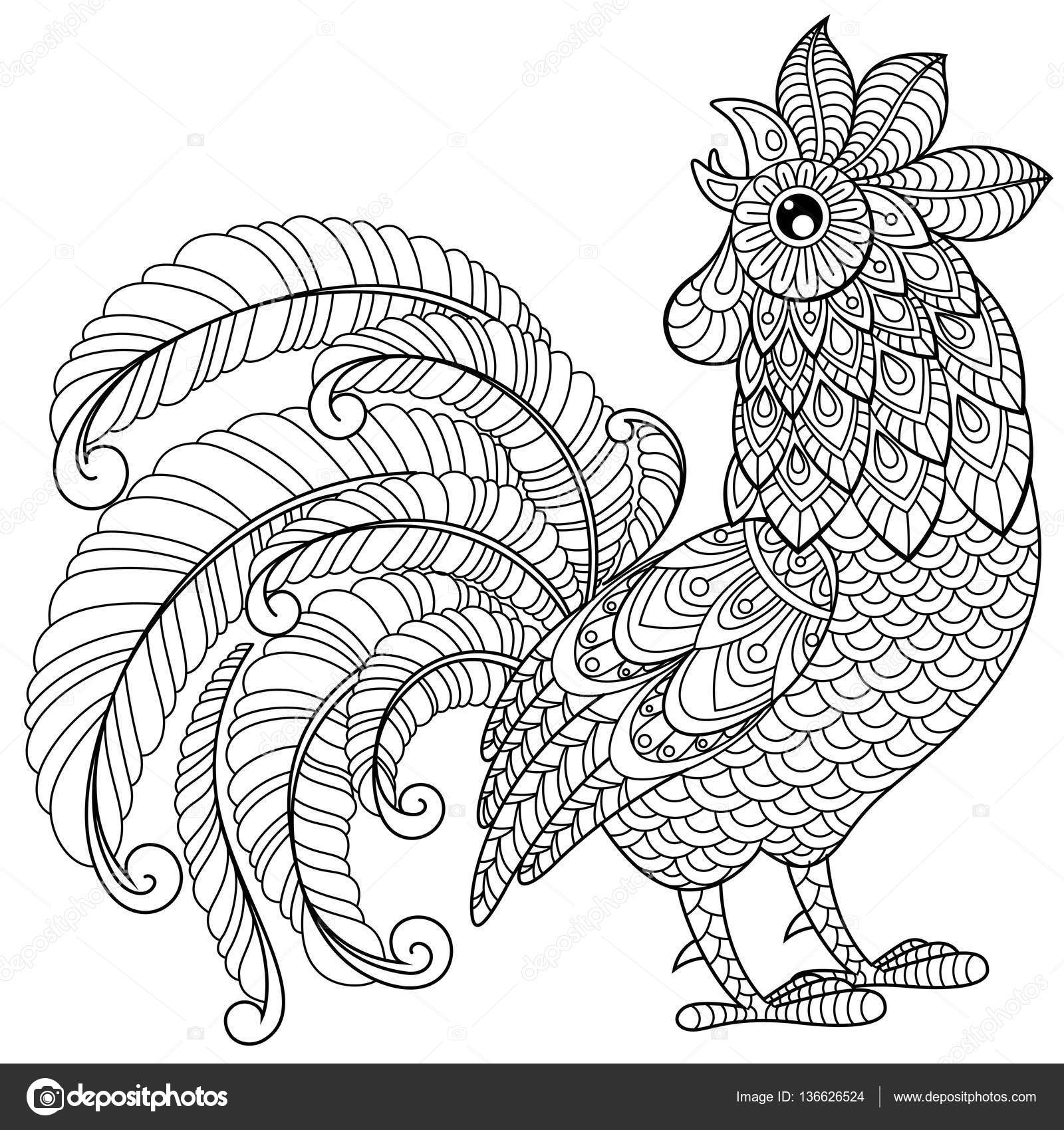 Rooster In Zentangle Style Symbol Of Chinese New Year
