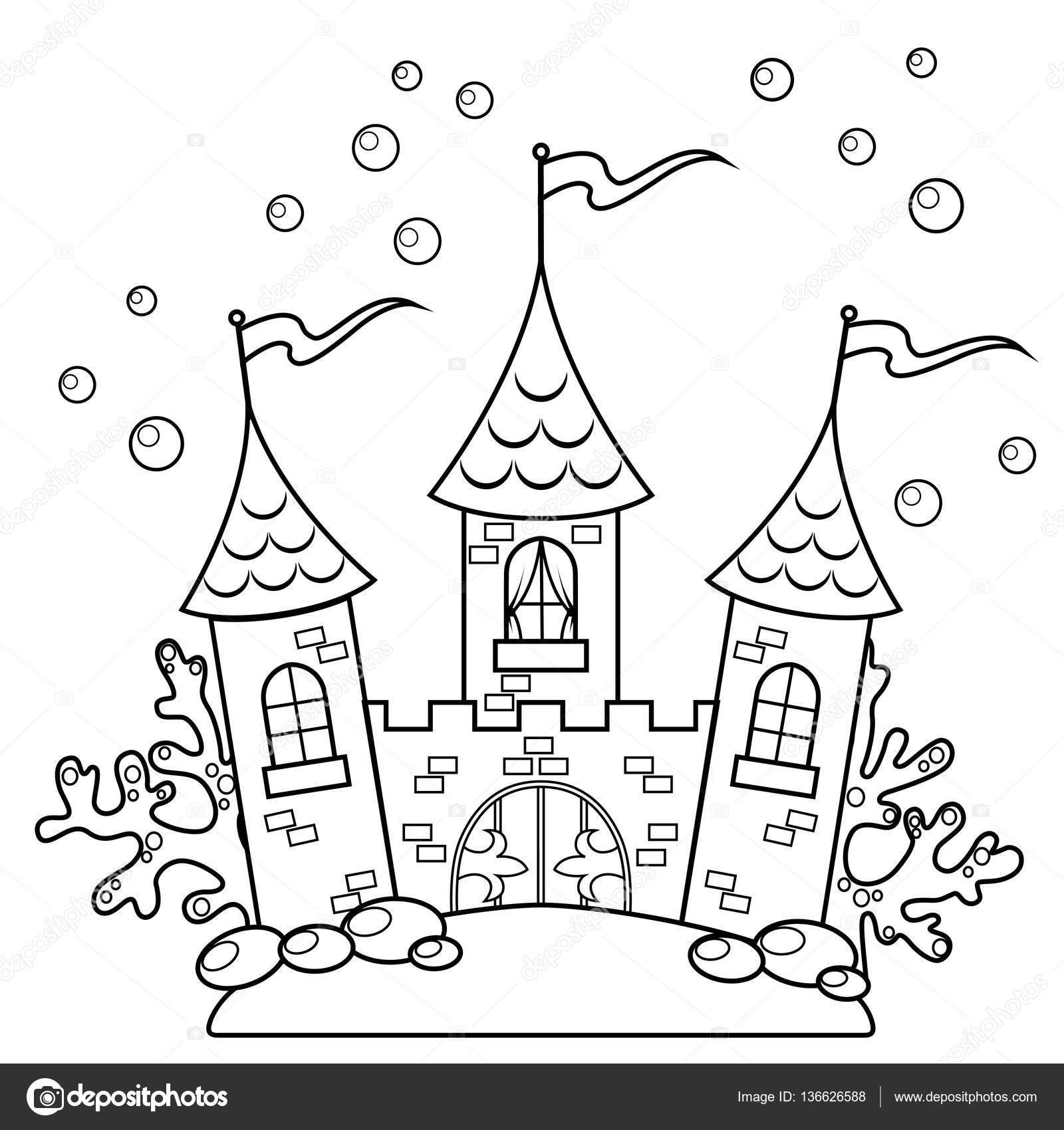 Castillo bajo el agua. Ilustración de vector de blanco y negro para ...