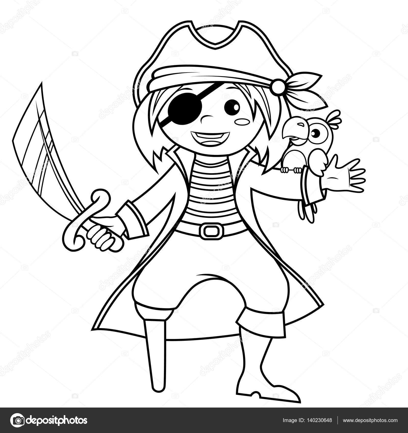 Pirata con loro. Ilustración de vector de blanco y negro para ...