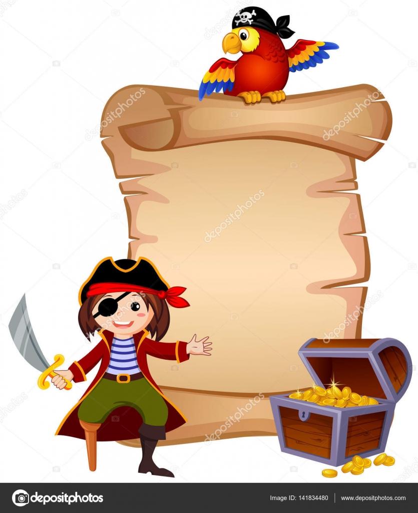 Pirata, loro, pecho y plantilla carta de tesoro — Vector de stock ...