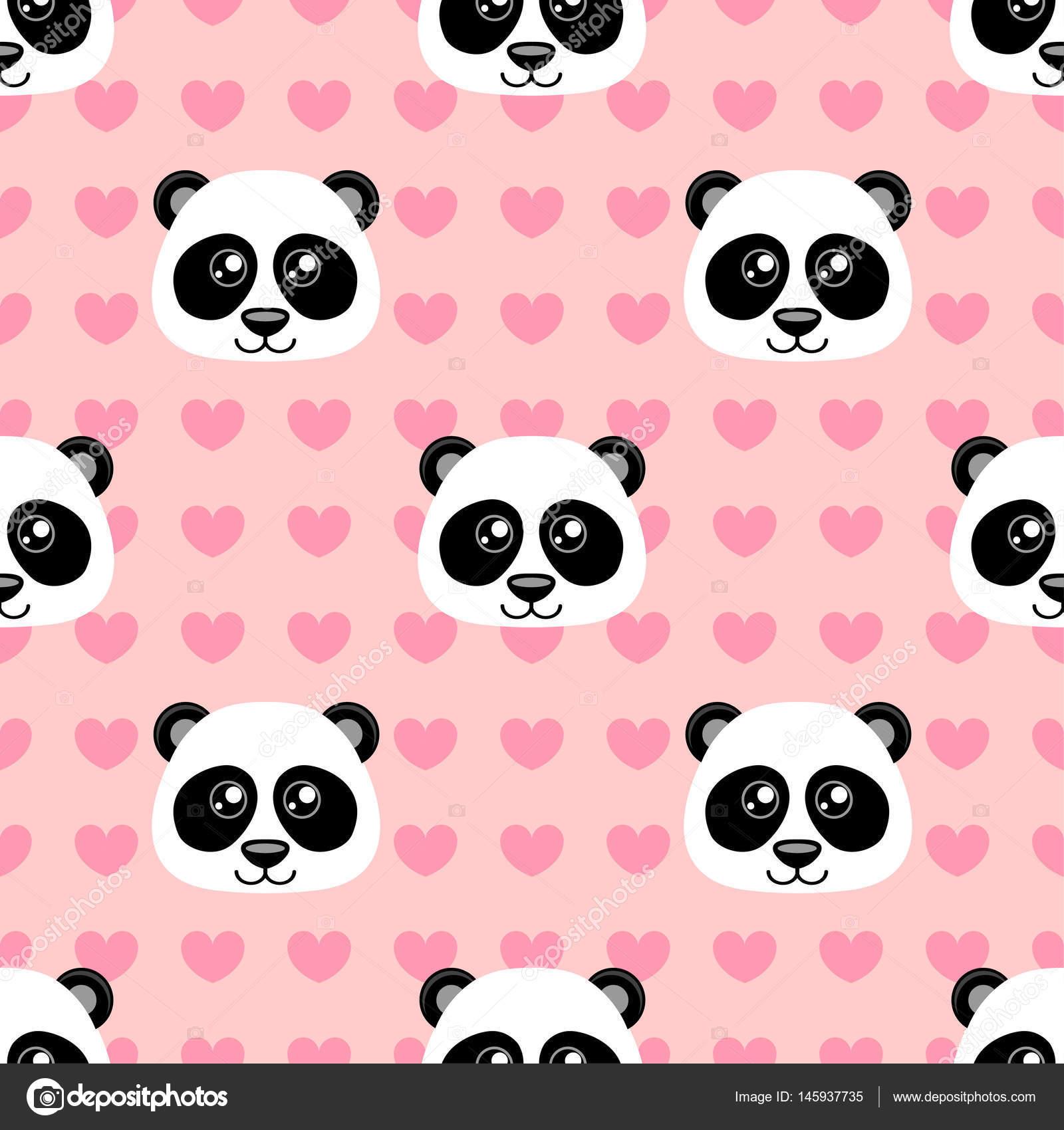 patrón transparente con dibujos animados cute panda y corazón
