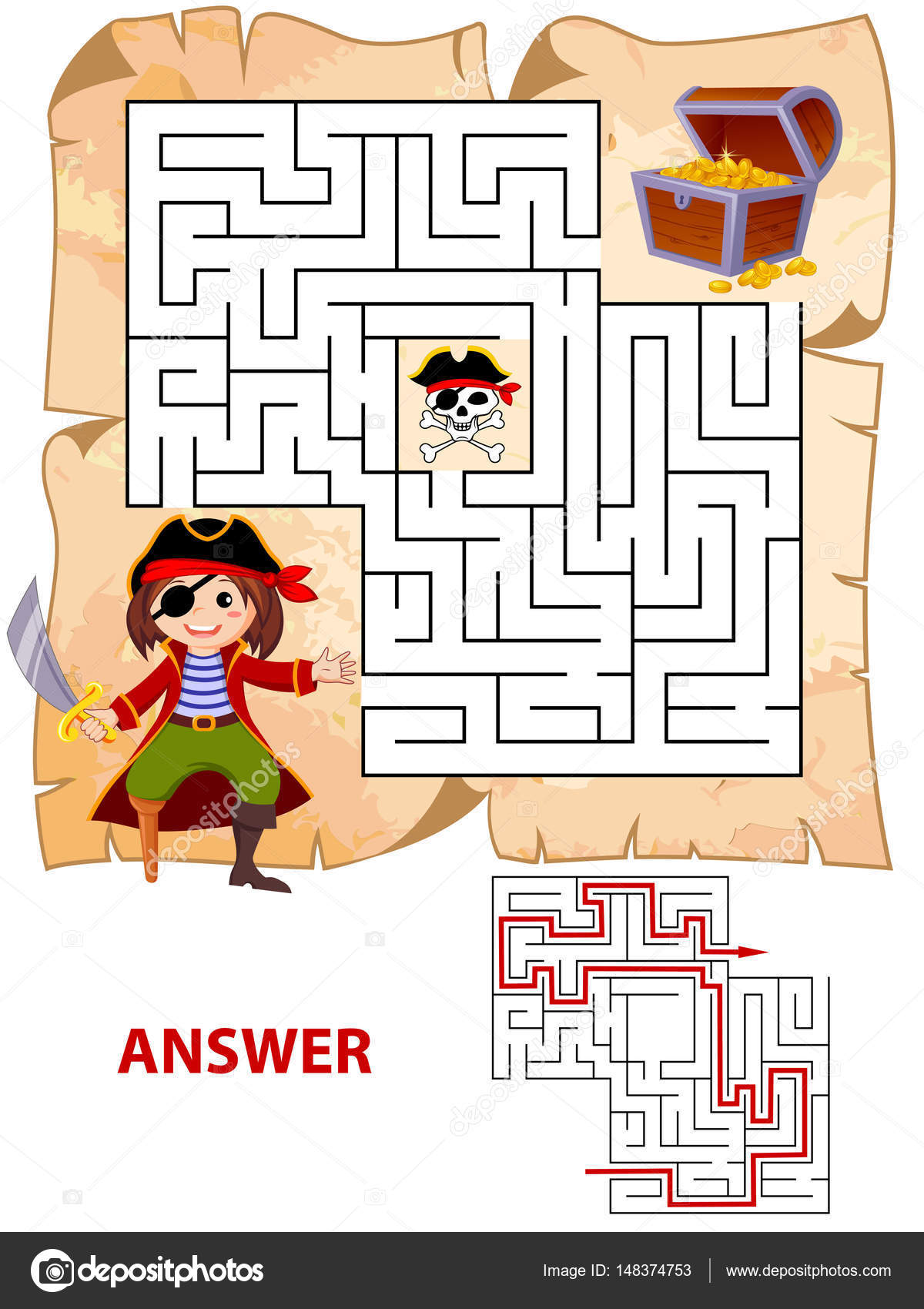 help pirate find path to treasure chest labyrinth maze game for