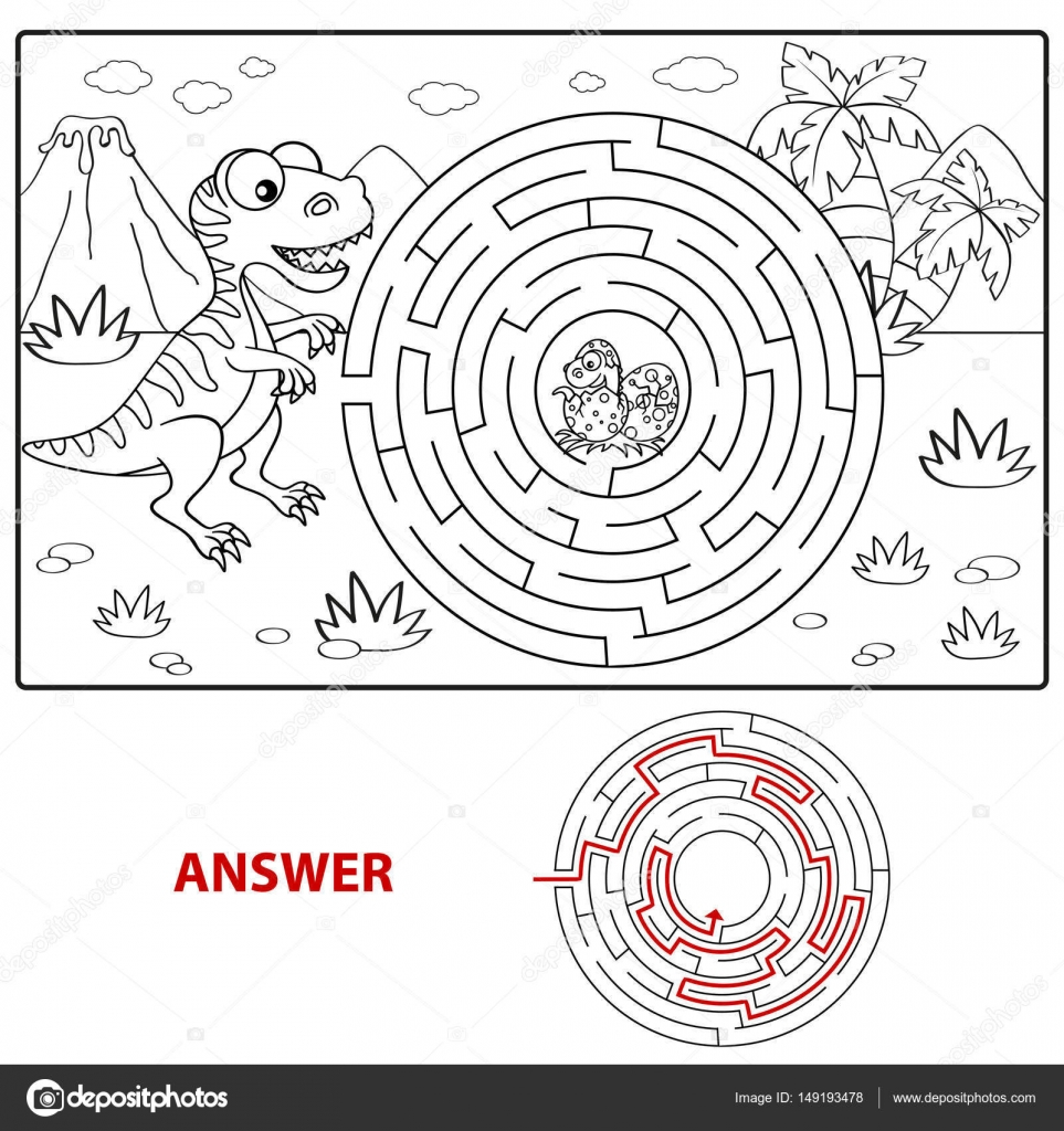 Ayudar a dinosaurio a encontrar camino para anidar. Laberinto ...