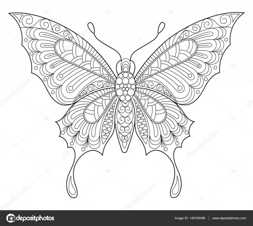 Volwassen Kleurplaten Vlinders.Vlinder Volwassen Anti Stressprogramma Kleurplaat Stockvector
