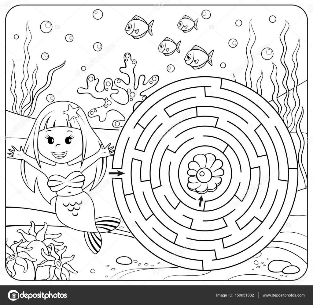 Aider le chemin trouver sir¨ne  perle Labyrinthe Jeu de labyrinthe pour les enfants Coloriage — Image vectorielle