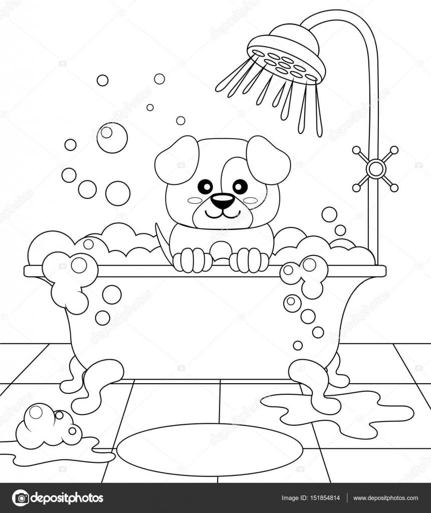 Baño de toma perrito lindo. Dog grooming — Vector de stock ...