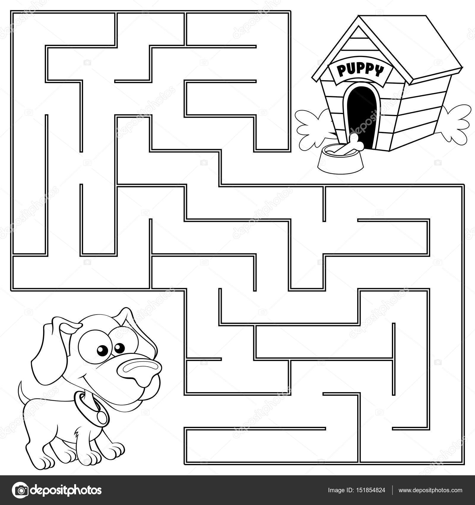Ayudar a cachorro a encontrar camino a su casa. Laberinto. Laberinto ...