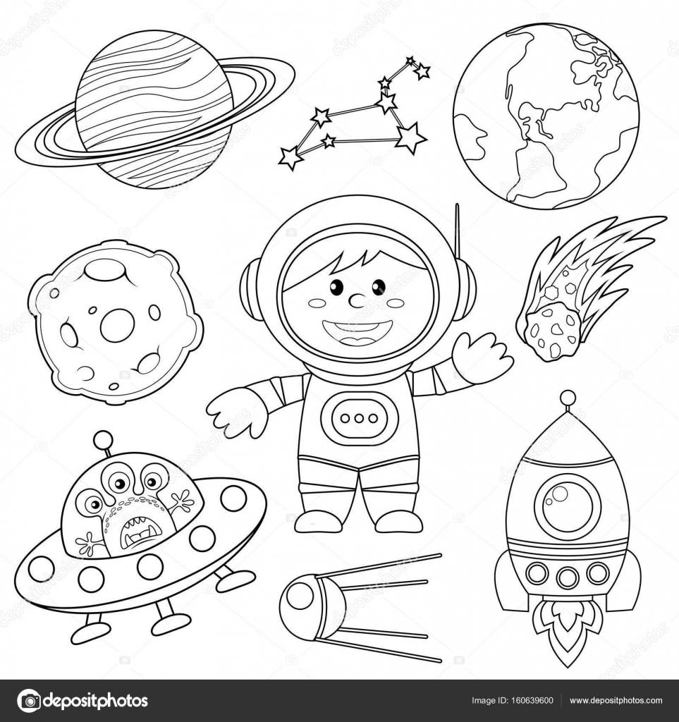 Conjunto de elementos del espacio. Astronauta, tierra, Saturno, Luna ...