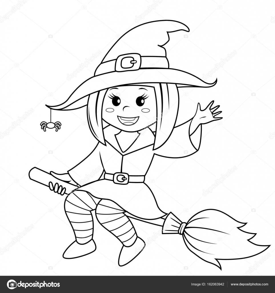 Bruja de Halloween volando en escoba. Ilustración de vector de ...