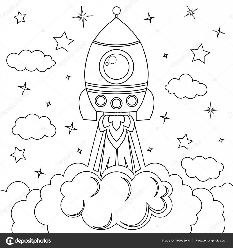 Roket Fırlatma Boyama Kitabı Için Siyah Ve Beyaz Vektör çizim