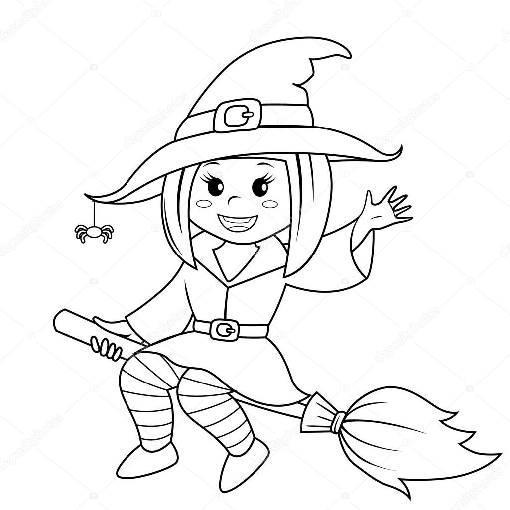 witches on broomsticks coloring pages - photo#22