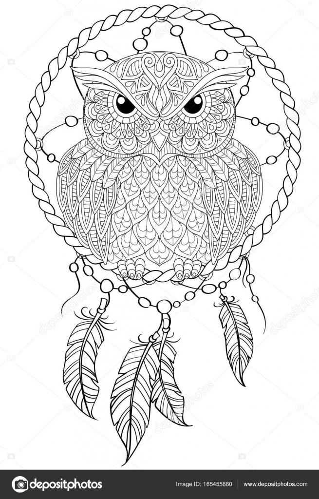 Dream Catcher With Owl Tattoo Or Adult Antistress Coloring Page