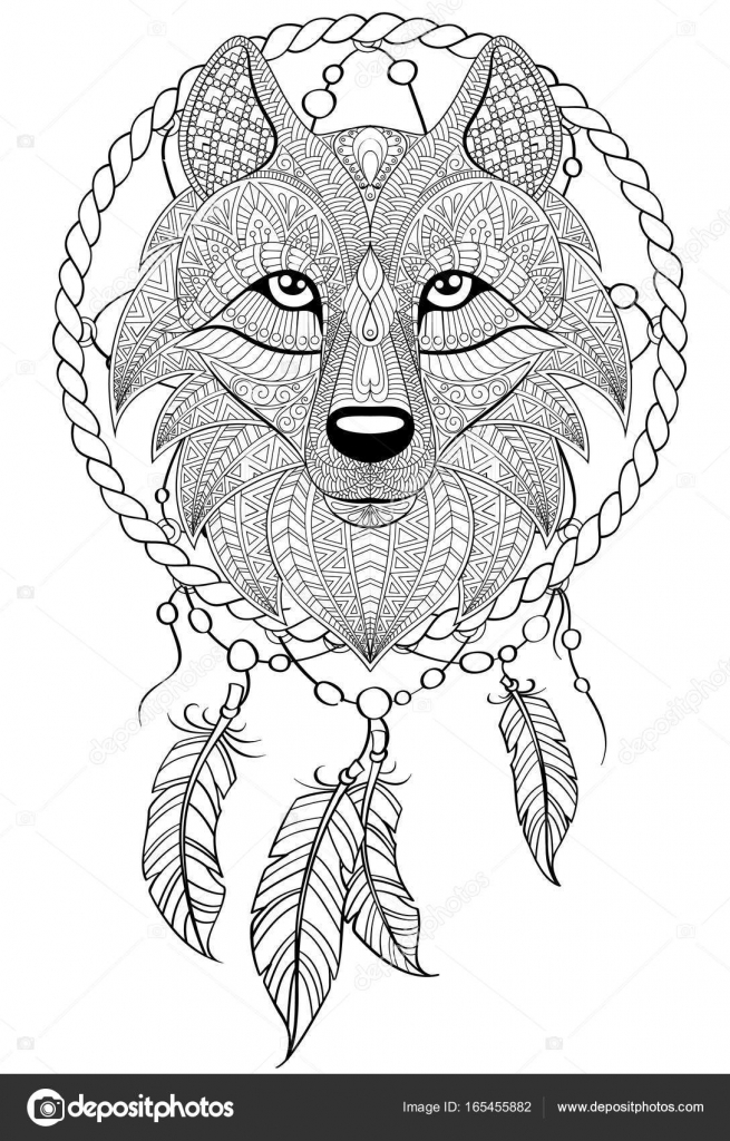 Wolf Dream Catcher Coloring Pages Dream Catcher With Wolf. Tattoo Or  Adult Antistress Coloring Page. Black And White Hand Drawn Doodle For Coloring  Book — Stock Vector © Alka5051 #165455882