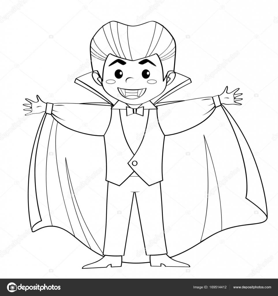 Conde Drácula. Vampiro. Muchacho en disfraces de halloween ...