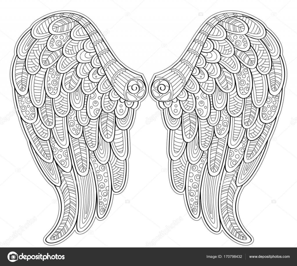 Alas de Ángel en estilo zentangle para tatoo o camiseta. Página para ...