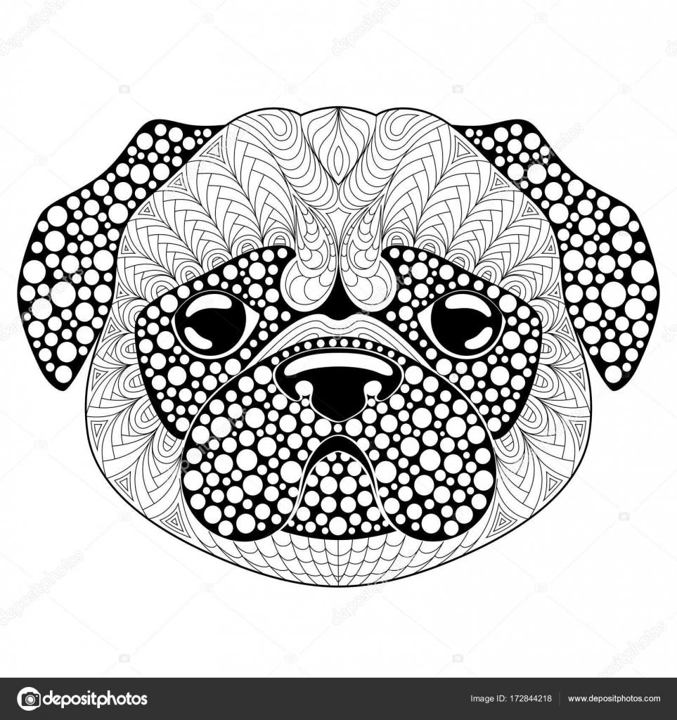 Pug Köpek Kafa Dövme Veya Yetişkin Antistress Boyama Sayfası Siyah
