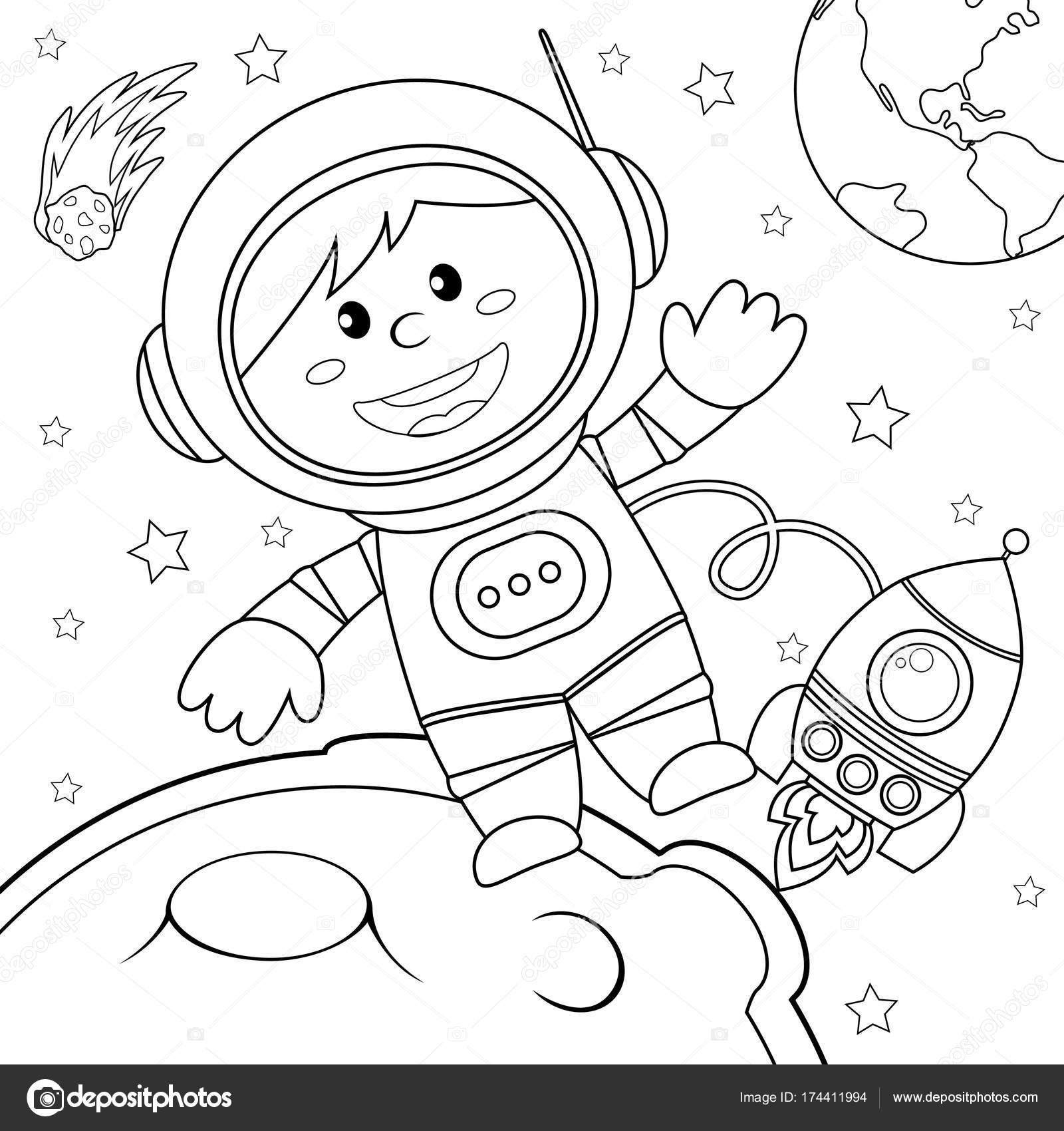 Astronot Uzayda Boyama Kitabı Için Siyah Ve Beyaz Vektör çizim