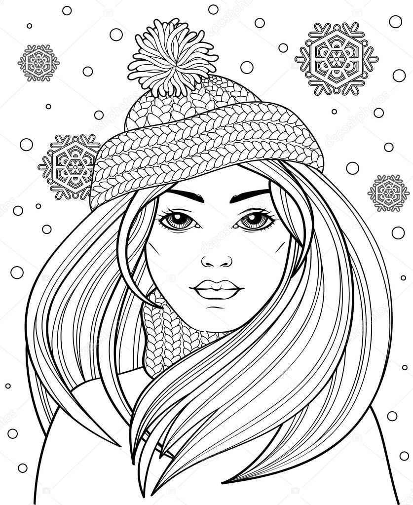 Young Beautiful Girl Long Hair Knitted Hat Tattoo Adult