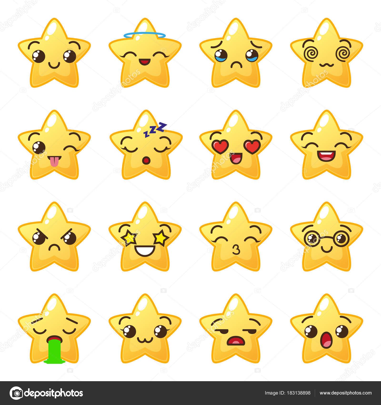Emoji estrella emoticonos lindos icono cara kawaii vector de stock alka5051 183138898 - Emoticone kawaii ...