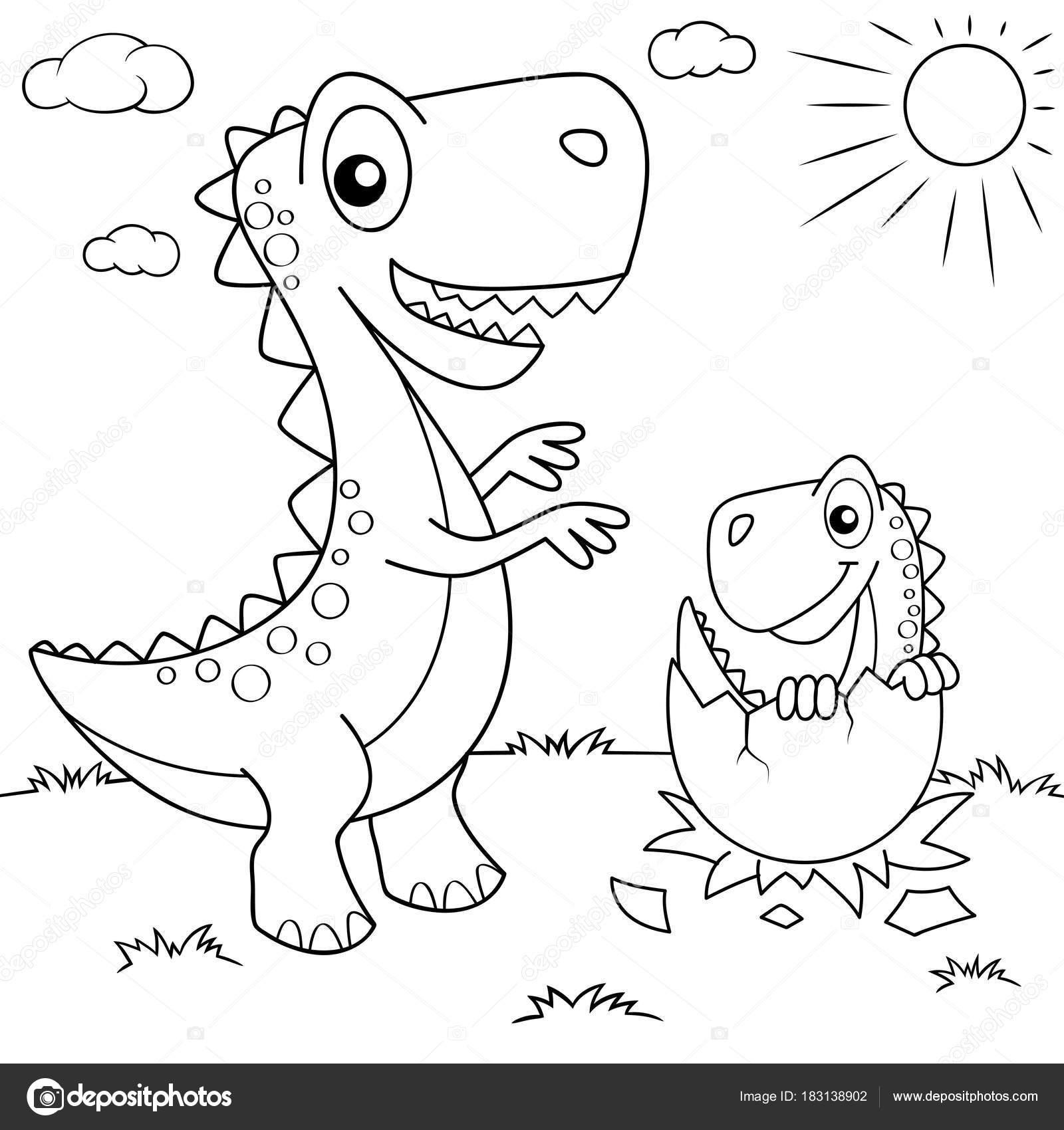 Dinosaurio Dibujos Animados Divertidos Nido Con Pequeño Dino ...