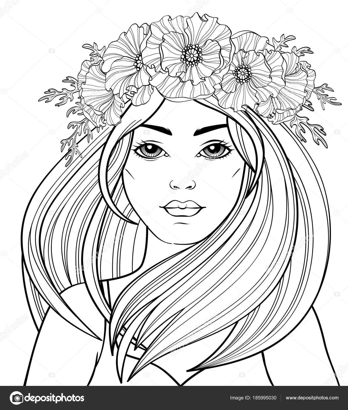volwassen kleurplaat vrouw mooie modieuze meisje