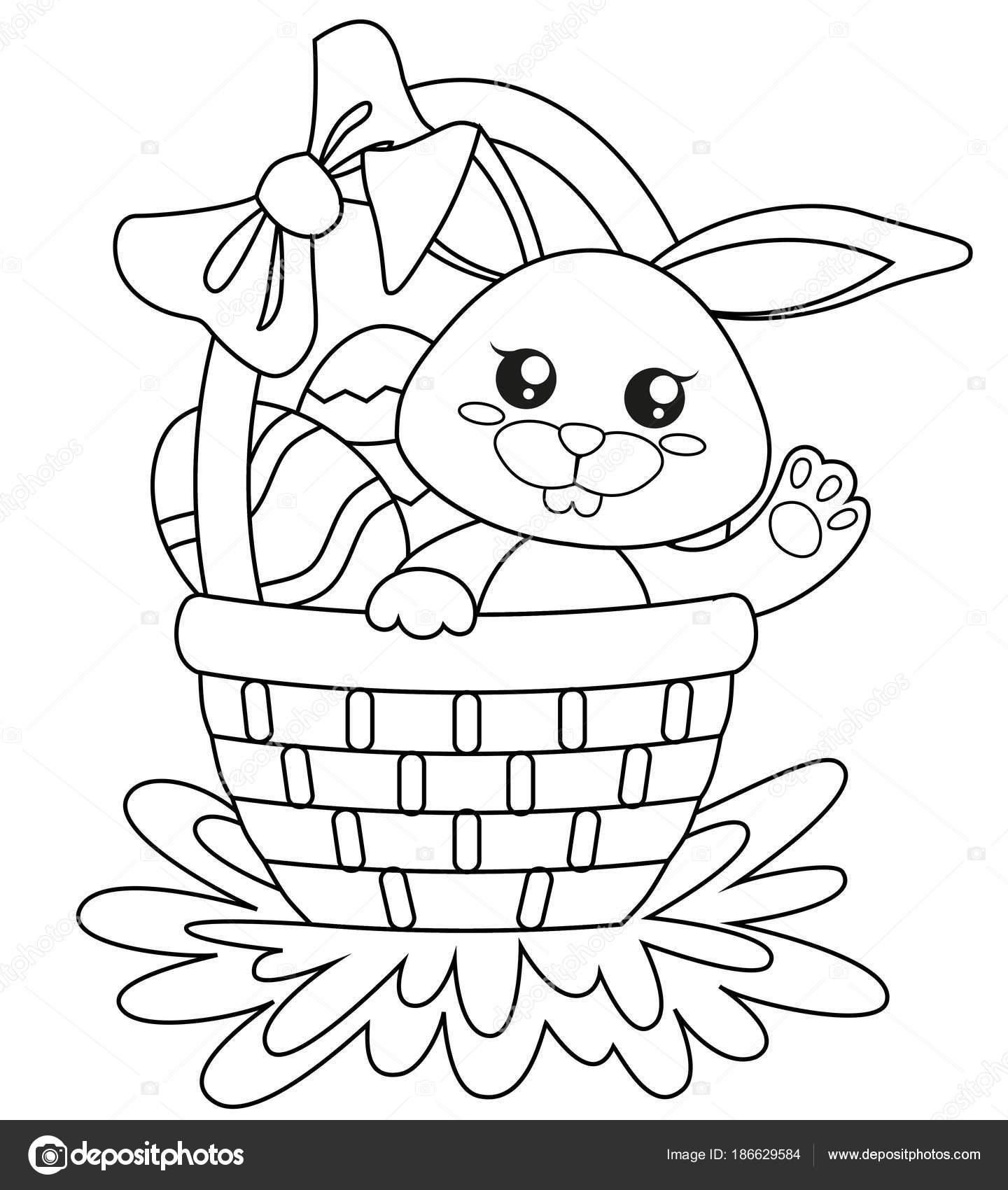 Feliz Pascua Resurrección Lindo Conejito Cesta Con Huevos ...