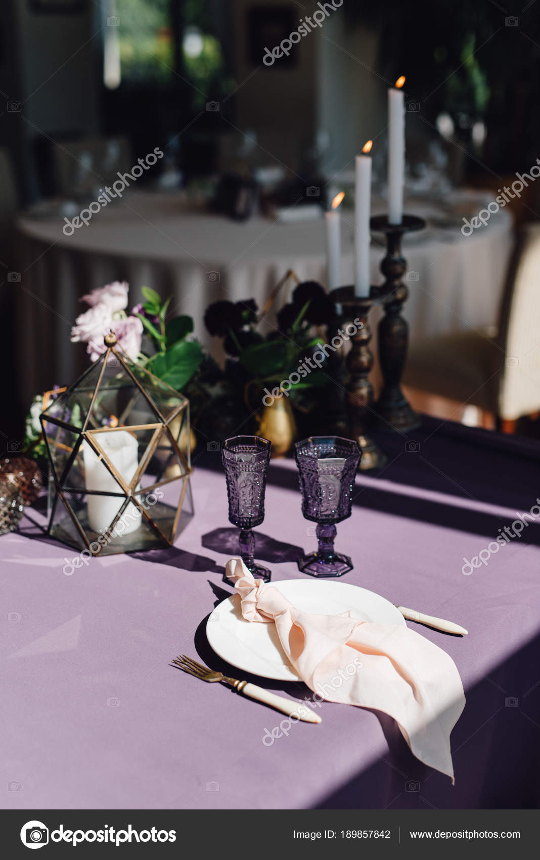 Closeup of wedding table with florariums white candles festive tableware and purple cloth u2014 Photo by dfrolovXIII & Closeup Wedding Table Florariums White Candles Festive Tableware ...