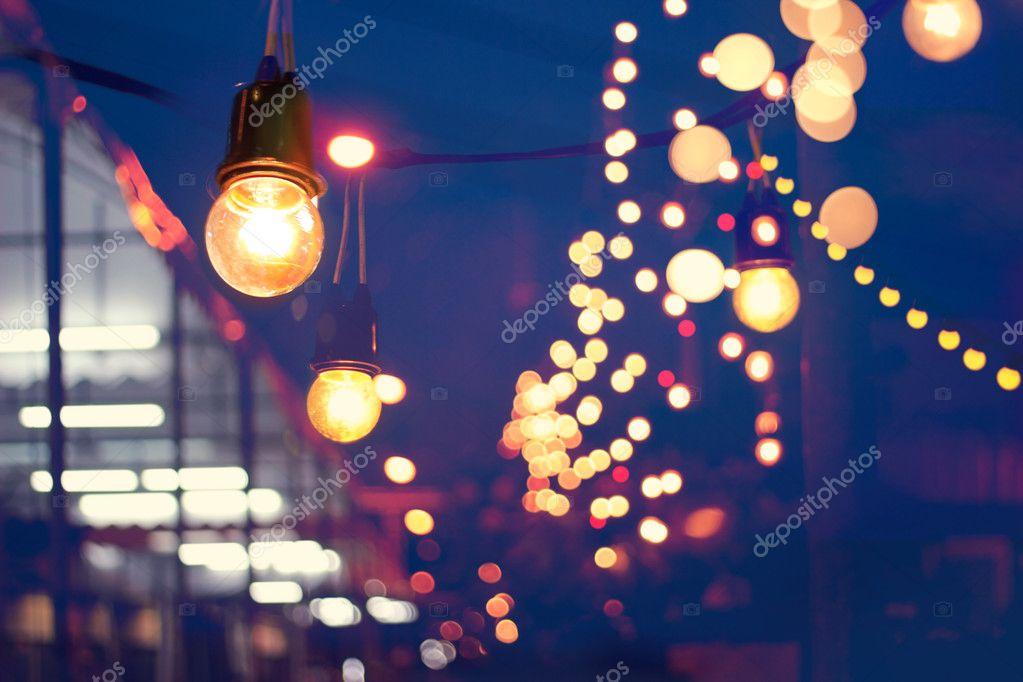 Verlichting decoratie evenement festival en kerstverlichting buiten ...