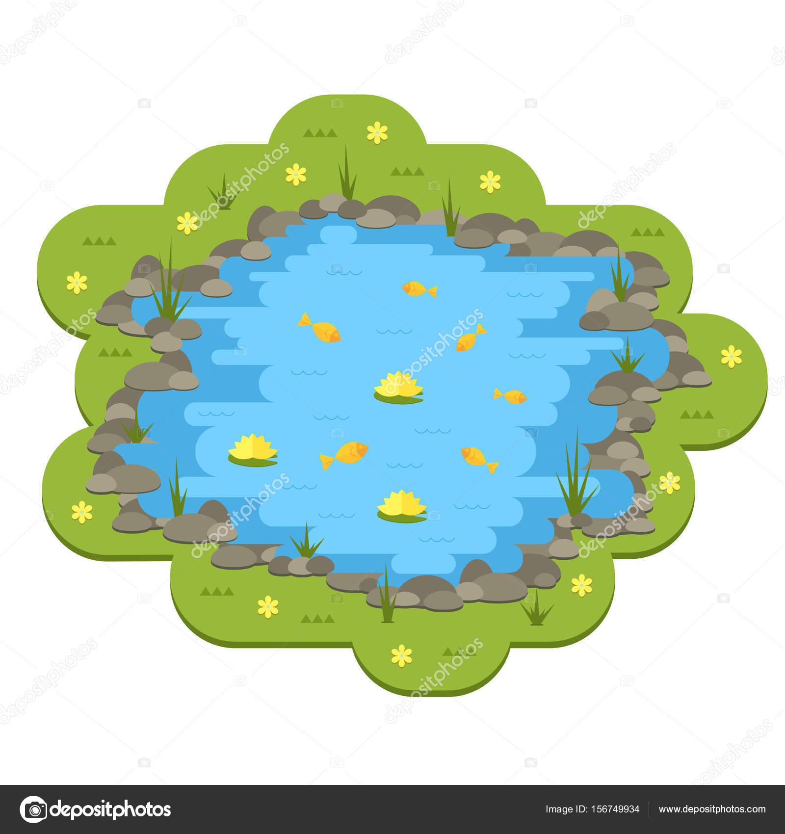 Stagno del giardino del fumetto vettoriale con acqua for Stagno giardino