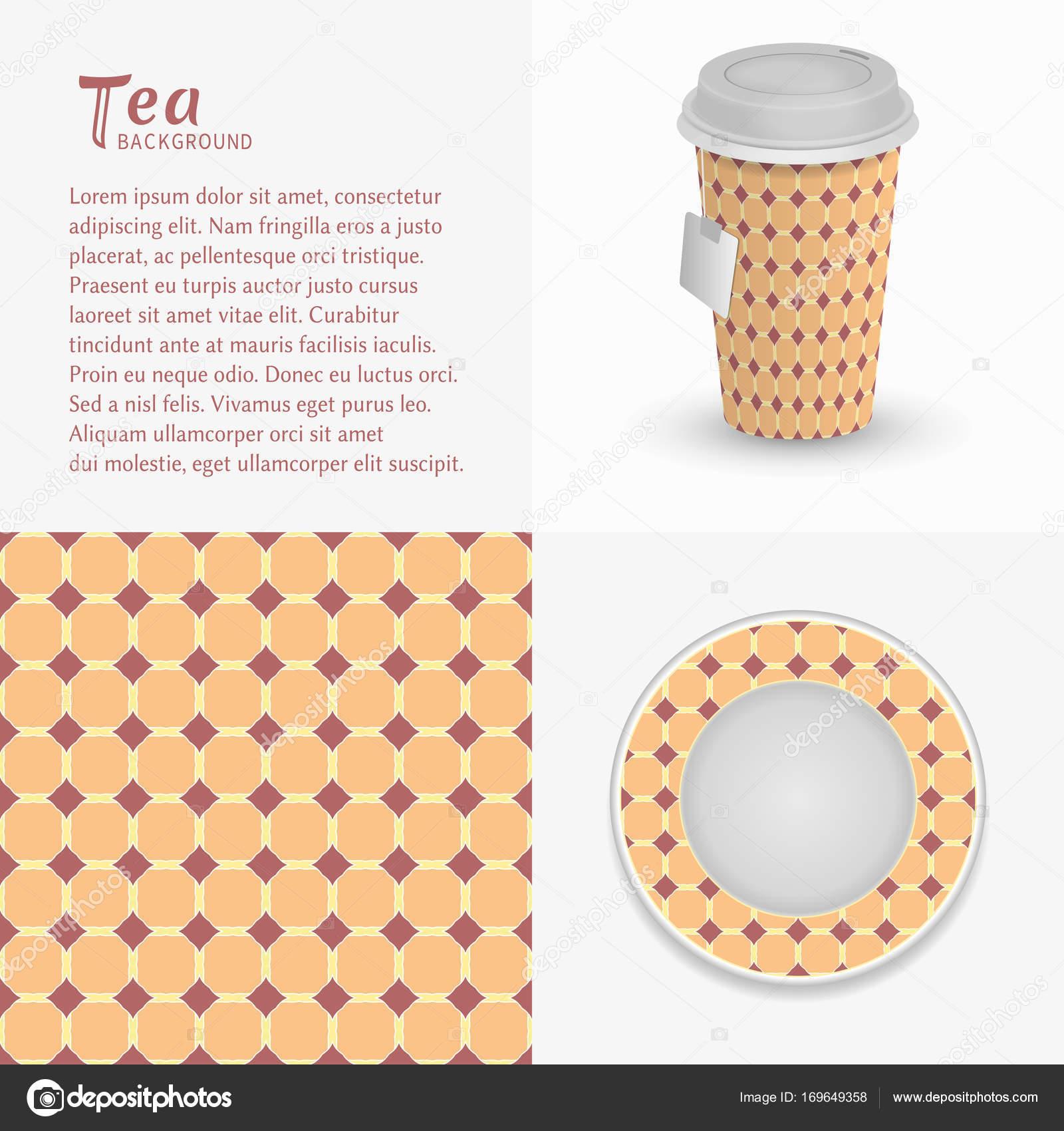 Cardboard Paper Cup Tea Saucer Ornament Seamless Pattern Take Away Stock Vector C Liukas 169649358
