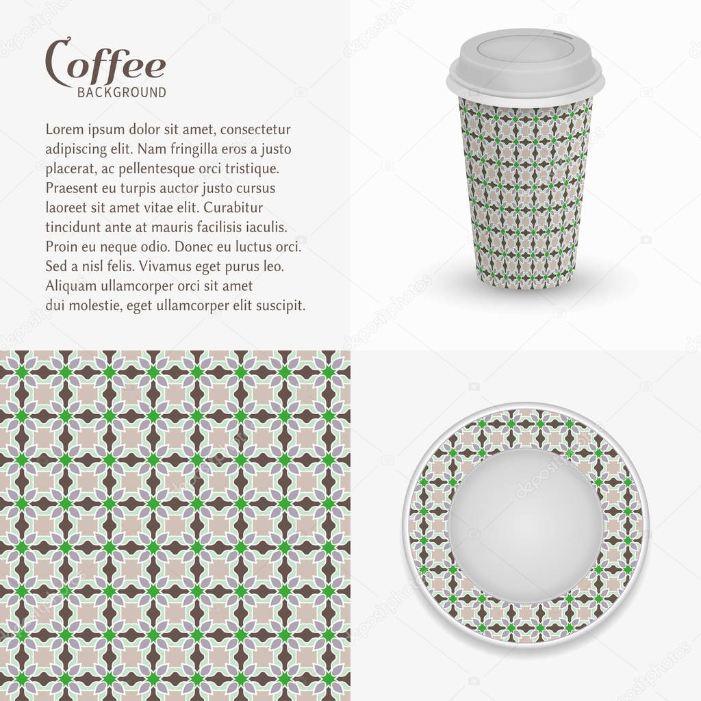Cardboard Paper Cup Of Coffee And Saucer With Ornament Seamless Pattern Take Away Coffee Packaging Template Isolated Design Elements For Coffee Shop Restaurant Menu Realistic Cup And Saucer Premium Vector In