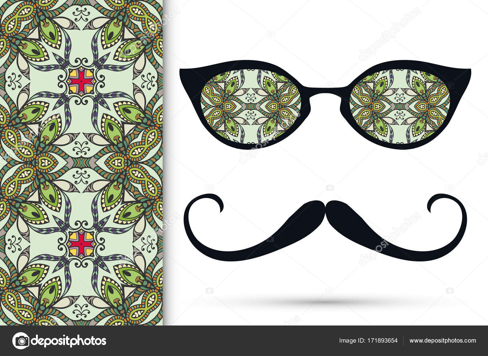 971dbeaa8cb Retro Hipster Ornate Sunglasses Mustaches Seamless Hand Drawn Pattern  Isolated — Stock Vector