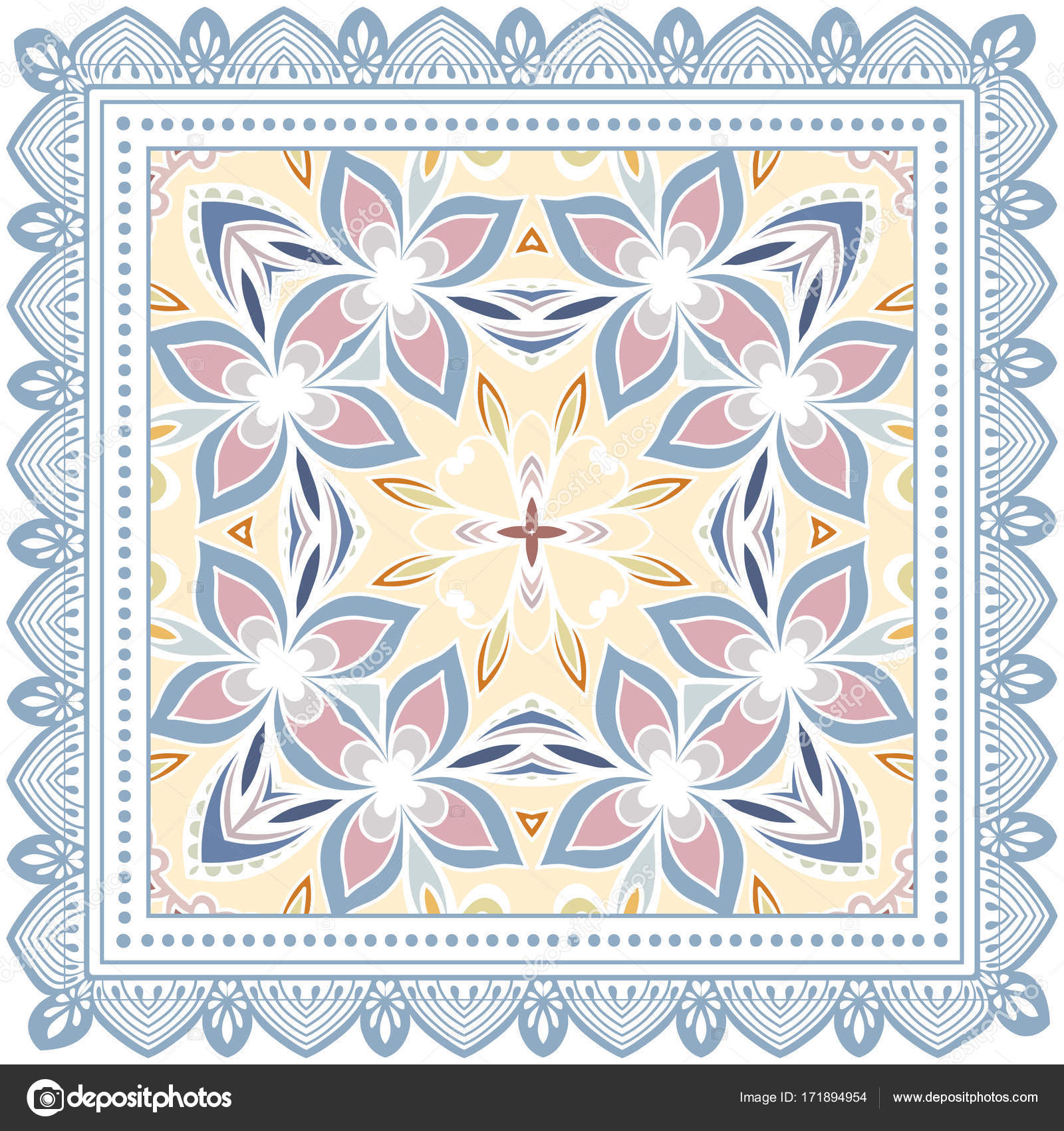 marque célèbre correspondant en couleur vraiment à l'aise Décoration Fond Coloré Motif Géométrique Doodle Floral Avec ...