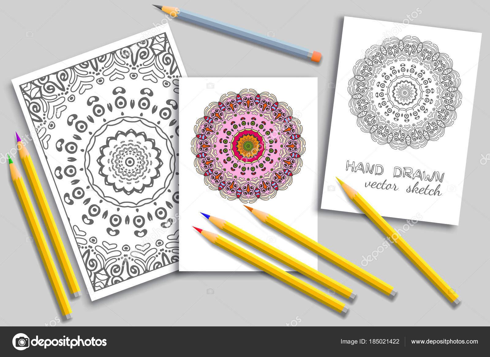 Malvorlagen und Karten mit bunten Bleistiften Mock-up — Stockvektor ...