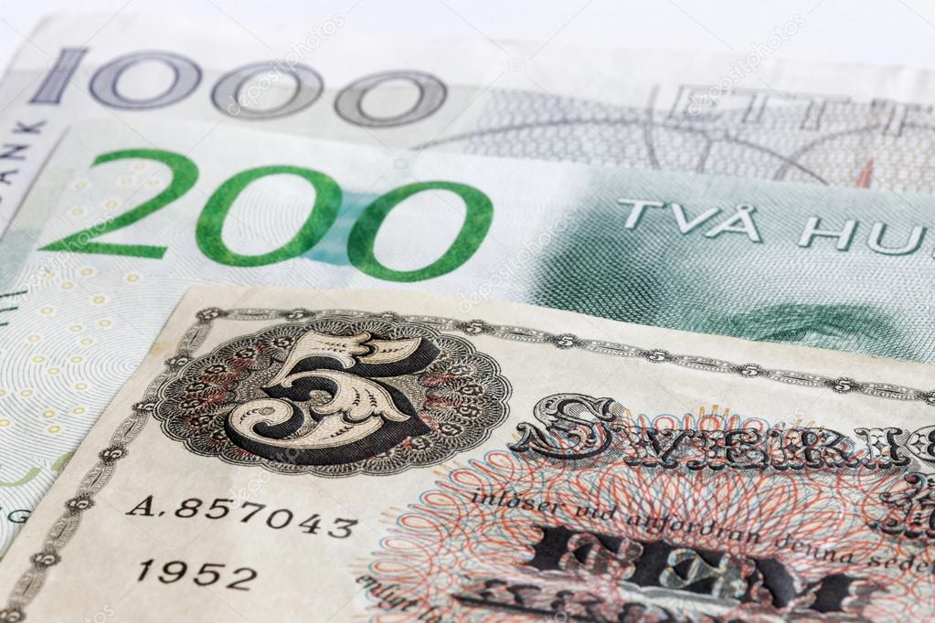 Notas De Banco Retrô 5, 200 E 1000 Sek Moeda Sueca U2014 Fotografia De Stock