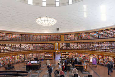 People in the city library in Stockholm called Stadsbiblioteket,