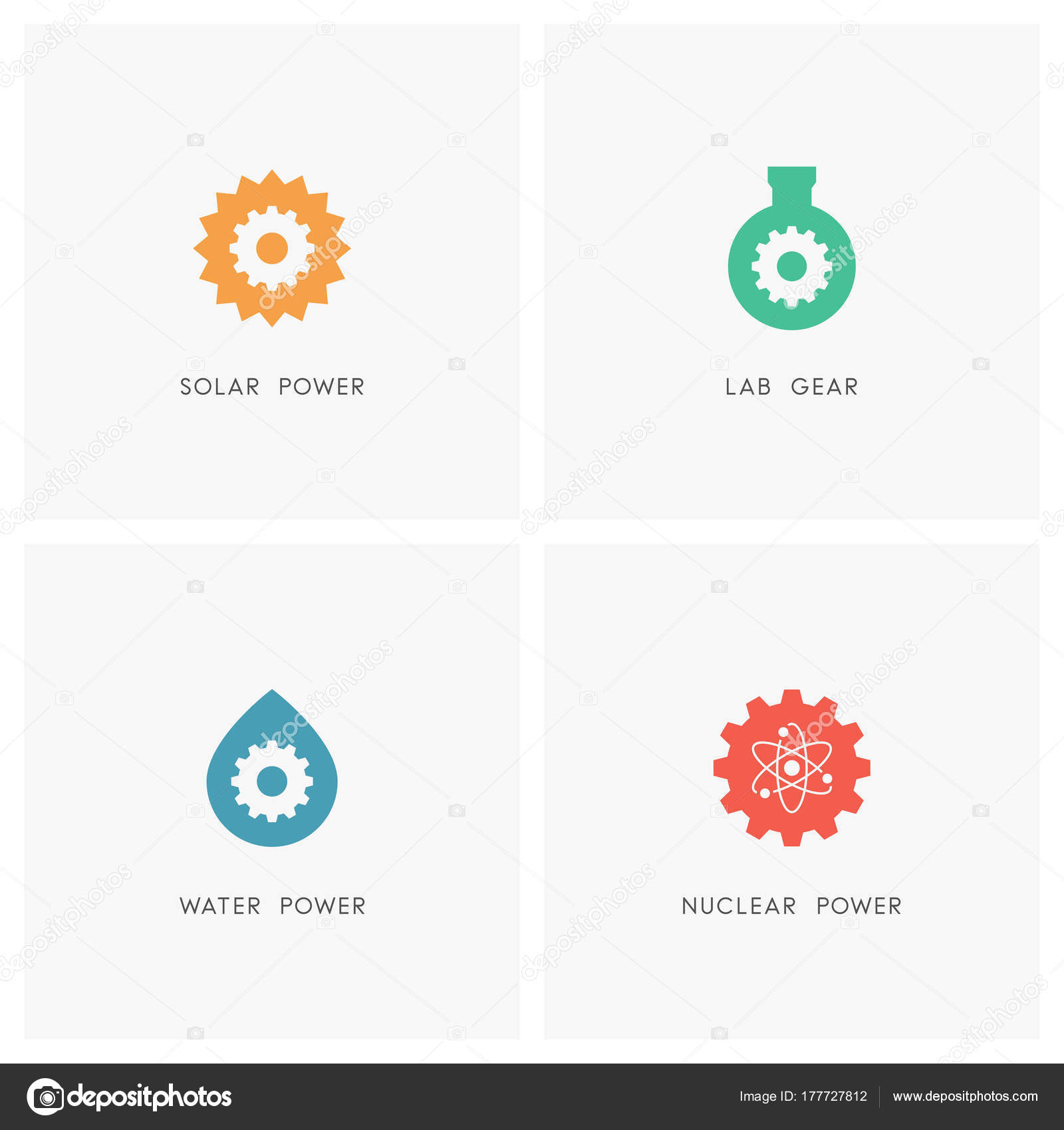 Energy source logo set sun test tube drop water atom stock the sun test tube drop of water atom and gear wheel or pinion symbol solar chemical hydro and nuclear power industry and ecology icons biocorpaavc
