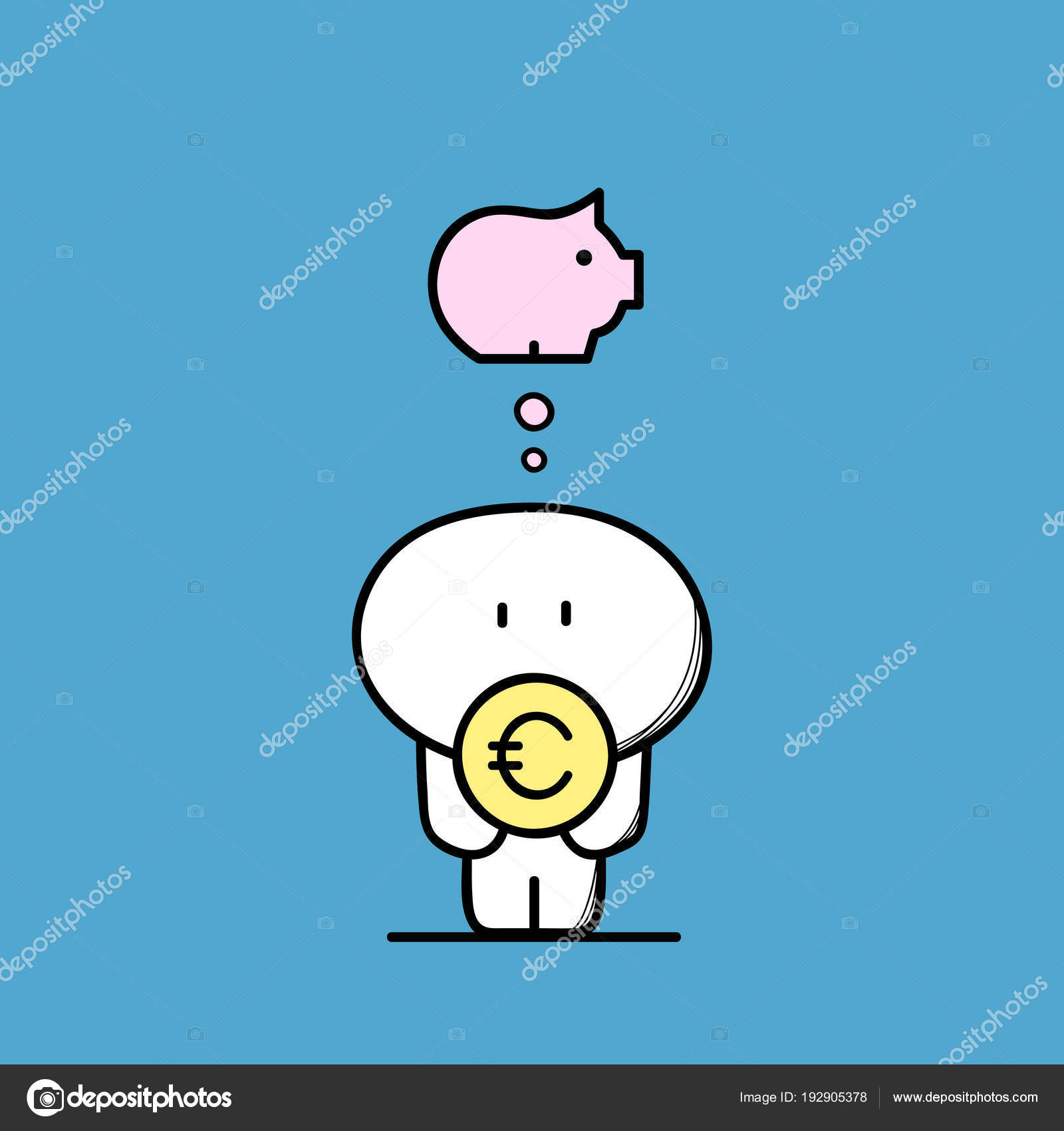 Cute Funny Man Euro Coin Hands Piggy Bank Symbol Money Stock