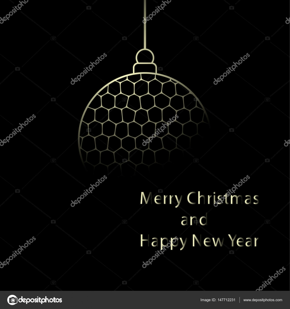 christmas ball in yellow colors isolated on black background minimalist new year card vector illustration eps10 vector by altelia