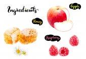 Honeycomb, apple fruit, raspberry