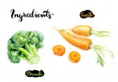 Photo Carrots and broccoli watercolor illustration