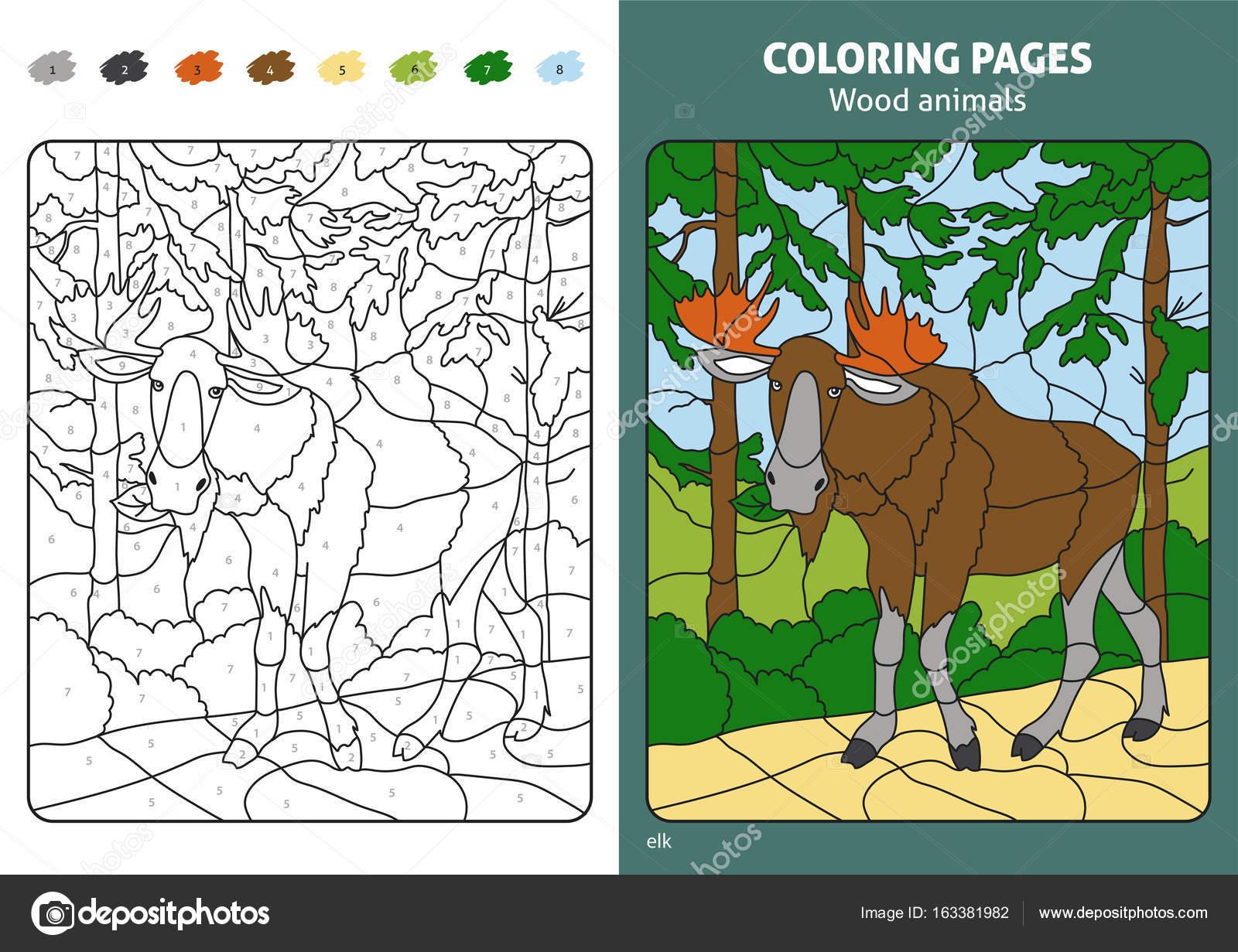 Wood animal coloring page — Stock Vector © Diidik #163381982
