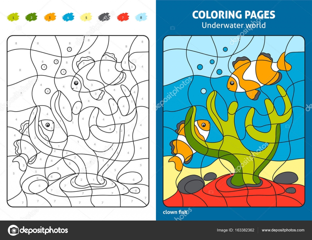 Página para colorear con peces payaso de dibujos animados — Archivo ...