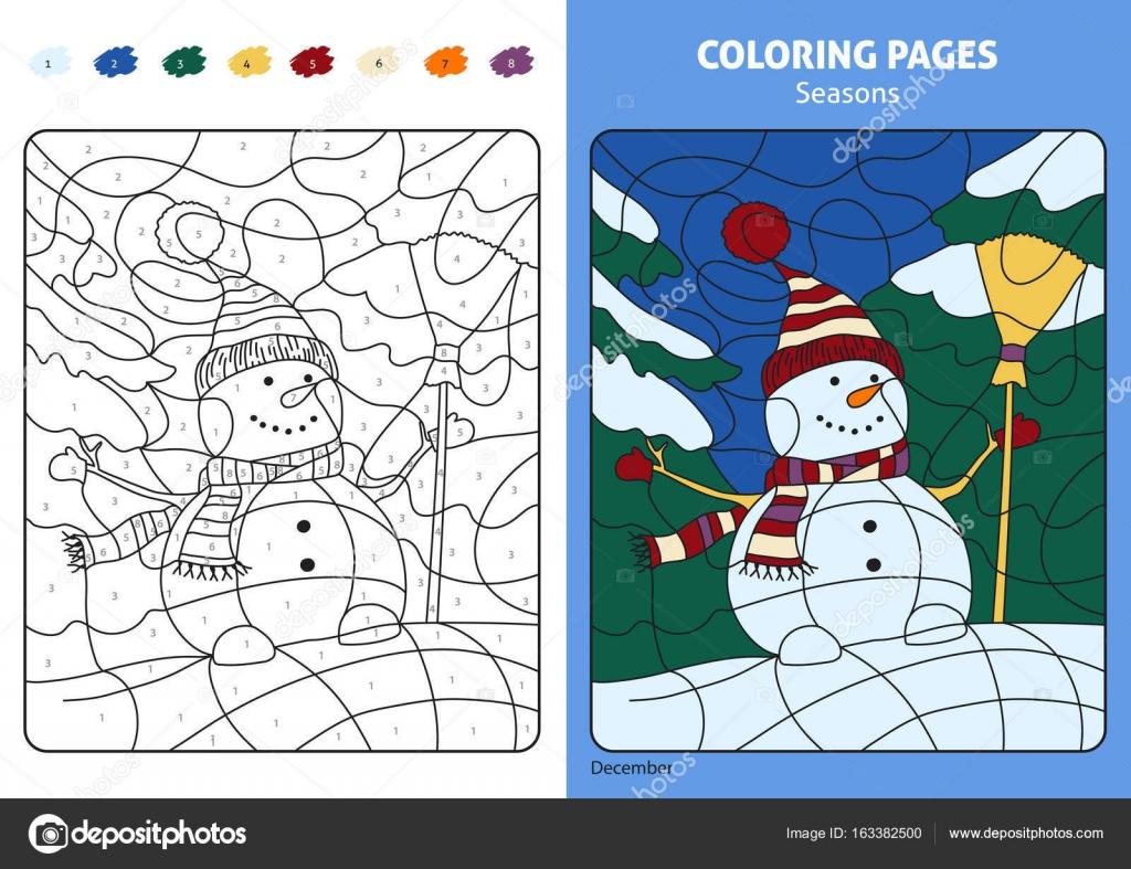 Kleurplaten Seizoen Winter.Seizoen Kleurplaat Stockvector C Diidik 163382500