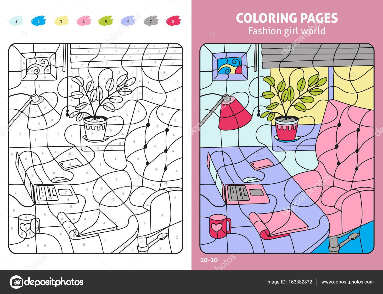 páginas para colorear para los niños con lugar de trabajo — Archivo ...