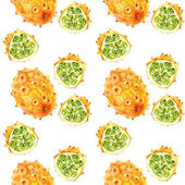 Kiwano fruit seamless pattern. Hand draw watercolor illustration isolated on white background.