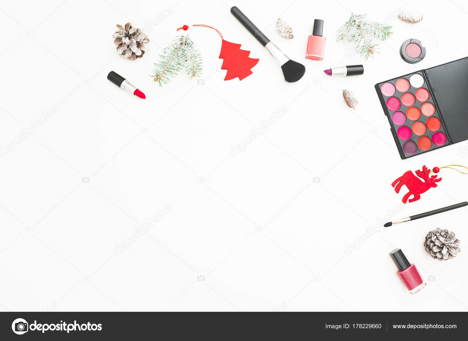 fashion desk cosmetics accessories new year decoration confetti white background stock photo