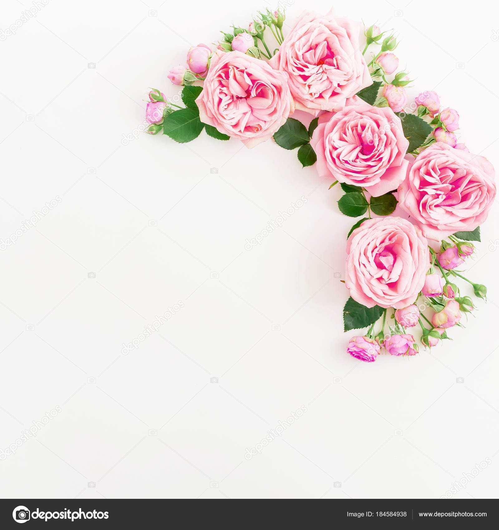 Floral Pattern Pink Roses Light Background Flat Lay Top View